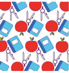 notebook school with apple fruit pattern vector image