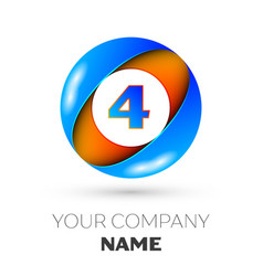 number four logo symbol in colorful circle vector image