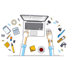 office worker or entrepreneur working on a laptop vector image