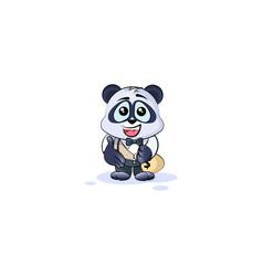 Panda bear in business suit extend hand vector