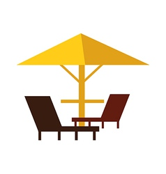 Parasol and three chairs vector