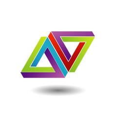 Pen rose triangle logo vector