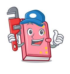 Plumber diary mascot cartoon style vector