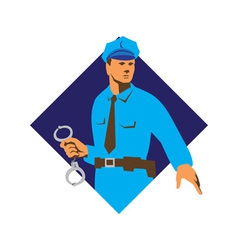 policeman police officer with handcuffs vector image