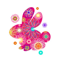 Rabbit silhouette with a bright abstract pattern vector