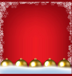 Red poster with winter border with golden vector