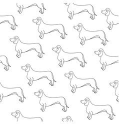 seamless pattern with awesome contour dog breed vector image
