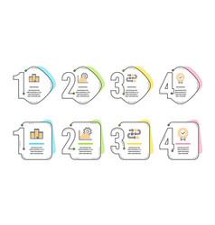Seo graph company and survey progress icons set vector