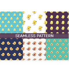 Set 6 seamless pattern with cartoon birds vector
