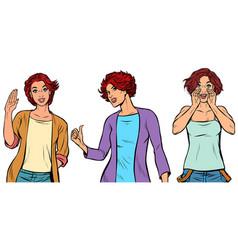 set collection gestures beautiful women vector image