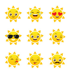 set of funny sun emojis vector image