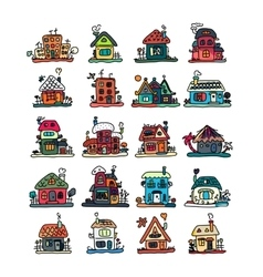 Set of houses sketch for your design vector image