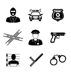 Set of monochrome police icons - gun car crime vector image