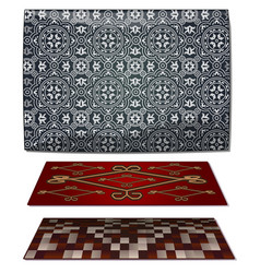 Set of three carpets gray and red vector
