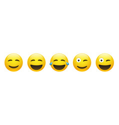 set yellow happy smiling emoticon vector image