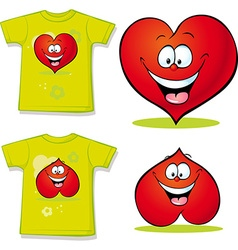 shirt with red heart cartoon vector image