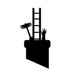 Silhouette chimney sweep in pipe with tools got vector