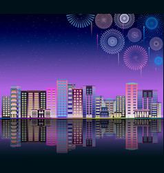 skyline or urban landscape with neon firework vector image