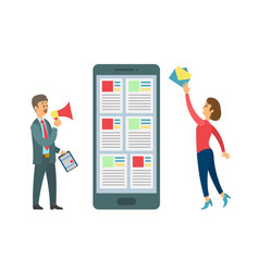 smartphone and people sending message boss worker vector image