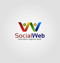 social web is a letter w logo that makes up two vector image