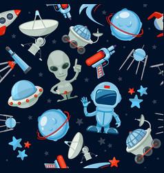 Space seamless background astronaut alien ufo vector