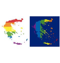 spectrum pixel dotted greece map vector image