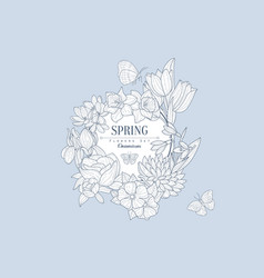 Spring flowers vintage sketch vector