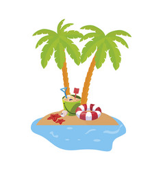Summer coastline scene with palms and coconut vector