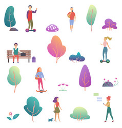 summer people activity in park icons set vector image
