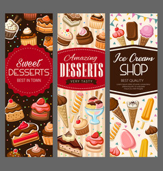 sweet desserts pastry cakes and bakery biscuits vector image