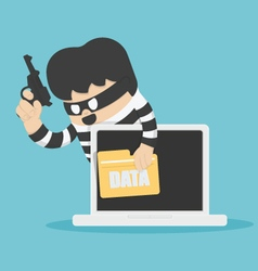 Thieves stole computer data vector image