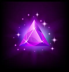 triangular purple shining gemstone with magical vector image