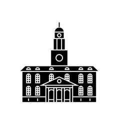 university building black icon concept university vector image