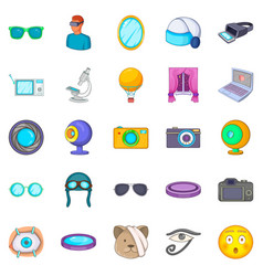 Visibility icons set cartoon style vector