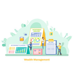 Wealth management people with stats banking vector