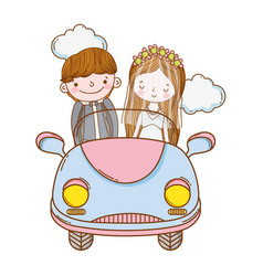 Wedding couple marriage cute cartoon vector