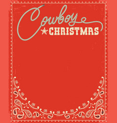 Western red christmas card with decorative text vector