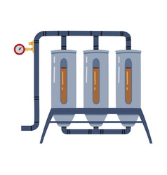 Whiskey drink malting in metal reservoir with pipe vector