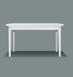 White empty table with four legs and side view vector