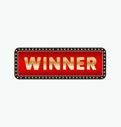 Winner banner golden frame sign vector