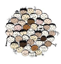 Crowd of funny peoples sketch for your design vector image
