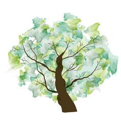 green summer paint textured art tree vector image vector image