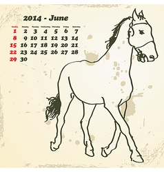 June 2014 hand drawn horse calendar vector image vector image