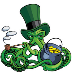 Octopus the suspicious leprechaun vector