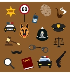 Police law and justice flat icons set vector image