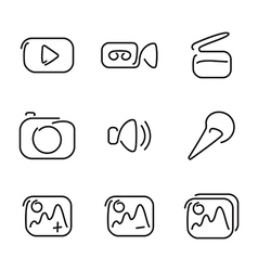 Video and multimedia set icons vector image vector image