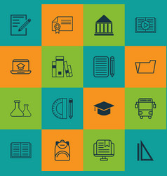 Set of 16 education icons includes paper home vector