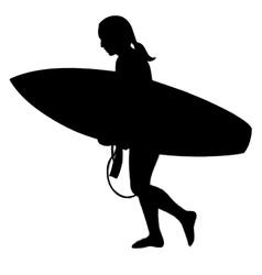 surfer girl silhouette vector image