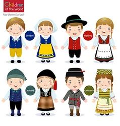 Children of the world Sweden Norway Iceland vector image