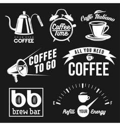 Coffee related labels badges and design elements vector image